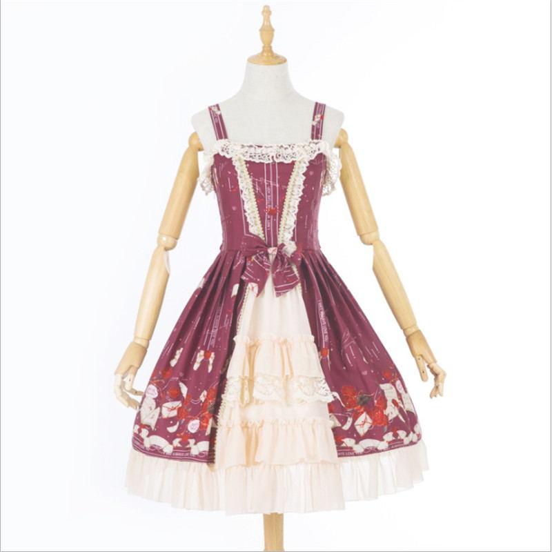 Robes Princesse Réservoir Lolita Jsk Manches Mignon Robe Classique Plissée Sans Noir Taille Grande Arc Genou Douce bourgogne Longueur ZzdxqnnH5