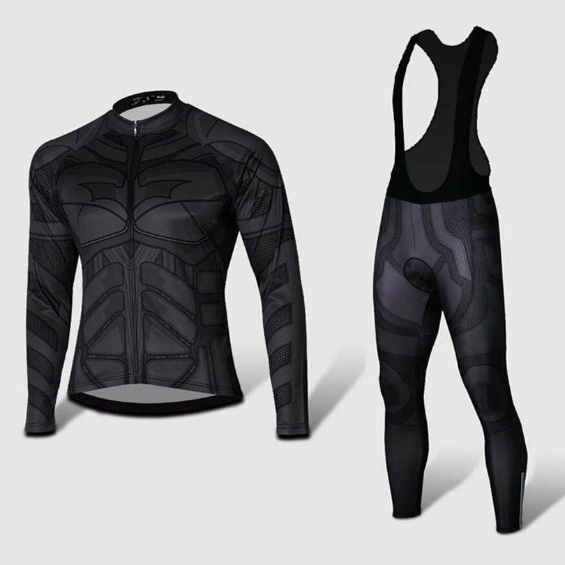 d7dc53026 special 2015 fall   winter Batman cycling Jersey   cycling clothing long  sleeve bicycle Jersey and bibs roupa maillot ciclismo
