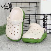 YAUAMDB дети мюли и сабо Лето EVA Мальчики Сандалии для девочки на плоской подошве дышащая мягкая подошва полые модная детская пляжная обувь ly30