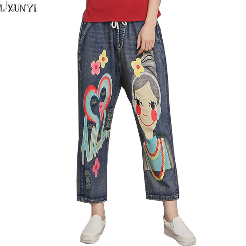 Fashion Women jeans Pants Casual Plus Size Straight Loose Denim Pants 2017 Women's Hole jeans With High Waist Printed Trousers casual fashion women s loose jeans high waist elastic waist straight denim ankle length pants slim ladies plus size trousers