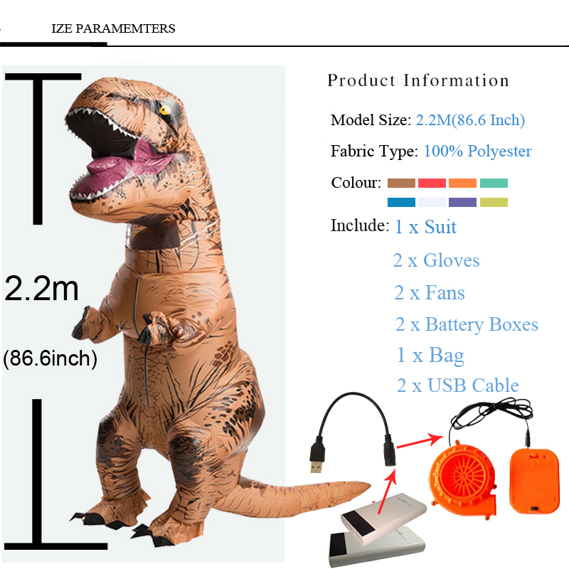 Adult T REX Costume Inflatable Dinosaur Party Costume Suit For Anime disfraces adultos costume Halloween Costumes for Women Men (4)