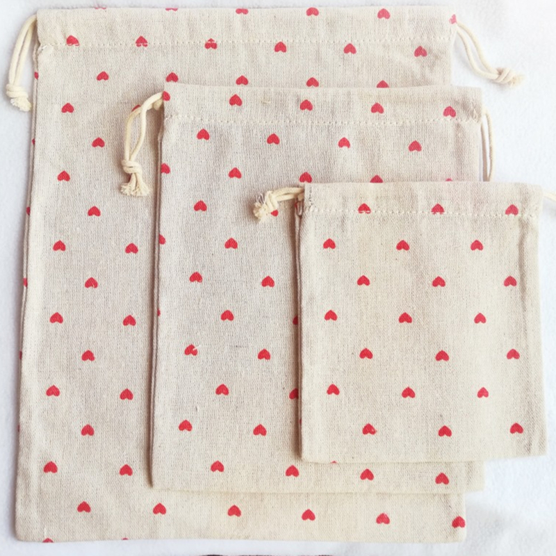 YILE Red Love Heart Cotton Linen Drawstring Organized Pouch Cosmetic Bag 8614L