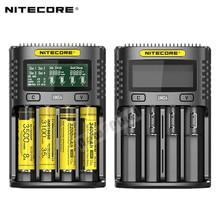 NITECORE UMS4 автоматический универсальный 3A быстрое зарядное устройство умный USB двойной слот зарядное устройство ЖК-дисплей li-ion аккумулятор IMR 18650 21700