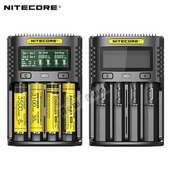 NITECORE UMS4 automatyczna uniwersalna szybka ładowarka 3A inteligentna ładowarka USB z dwoma gniazdami wyświetlacz LCD akumulator litowo-jonowy IMR 18650 21700 tanie i dobre opinie Standardowa bateria Elektryczne