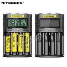 Автоматическое универсальное быстрое зарядное устройство NITECORE UMS4 3A, интеллектуальное зарядное устройство USB с двумя слотами, ЖК дисплей, литий ионный аккумулятор IMR 18650 21700