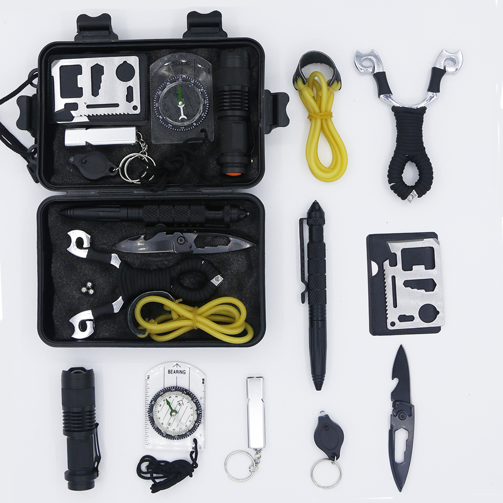 Survival Kit Set Waterproof Equipment EDC 10 In 1 Outdoor Tourism Multifunction First Aid SOS Emergency Self Tools Travel Kit