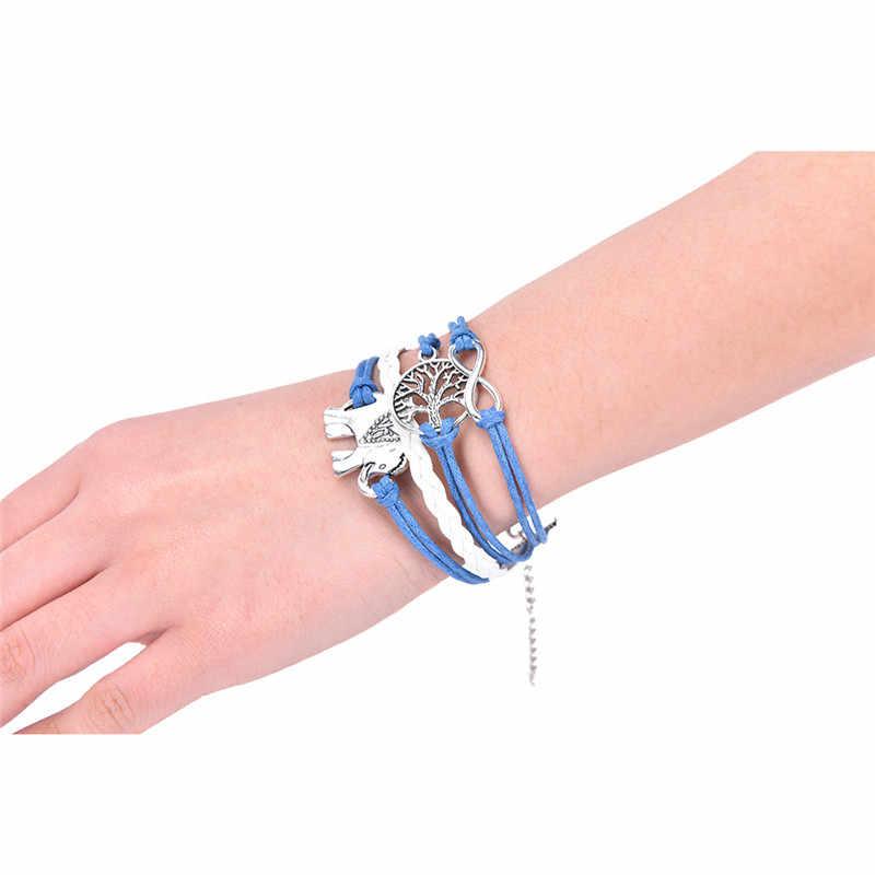 1pc Vintage Retro słoń błogosławieństwo skórzana linka religia pragnąc drzewa urok bransoletka podróży pamiątki nadgarstek biżuteria męska