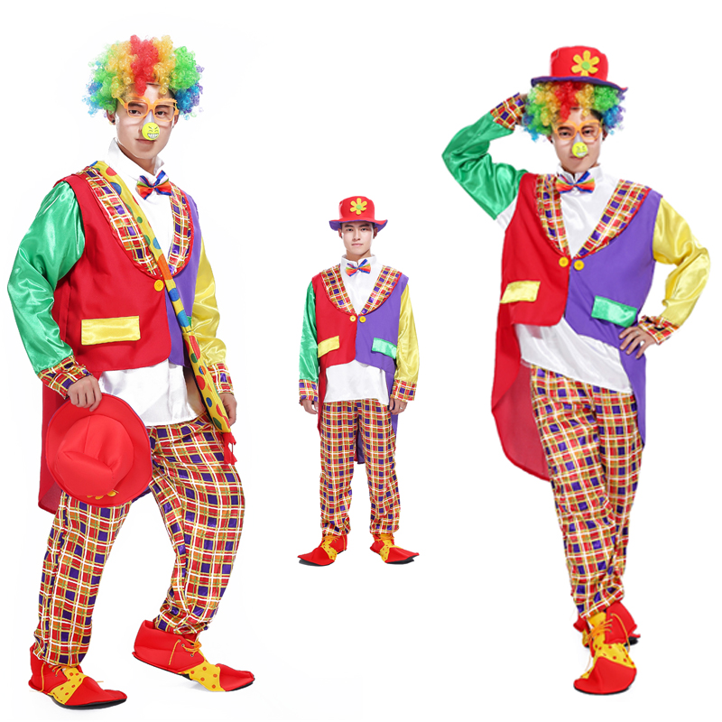 Halloween masquerade clown magician tuxedo suit adult costume party clown funny clown costume party cosplay