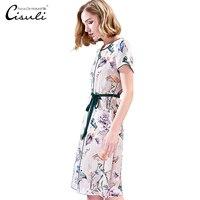 CISULI Silk Dress Women Summer Dress Floural Printed 100% Natural Silk Vintage Dress