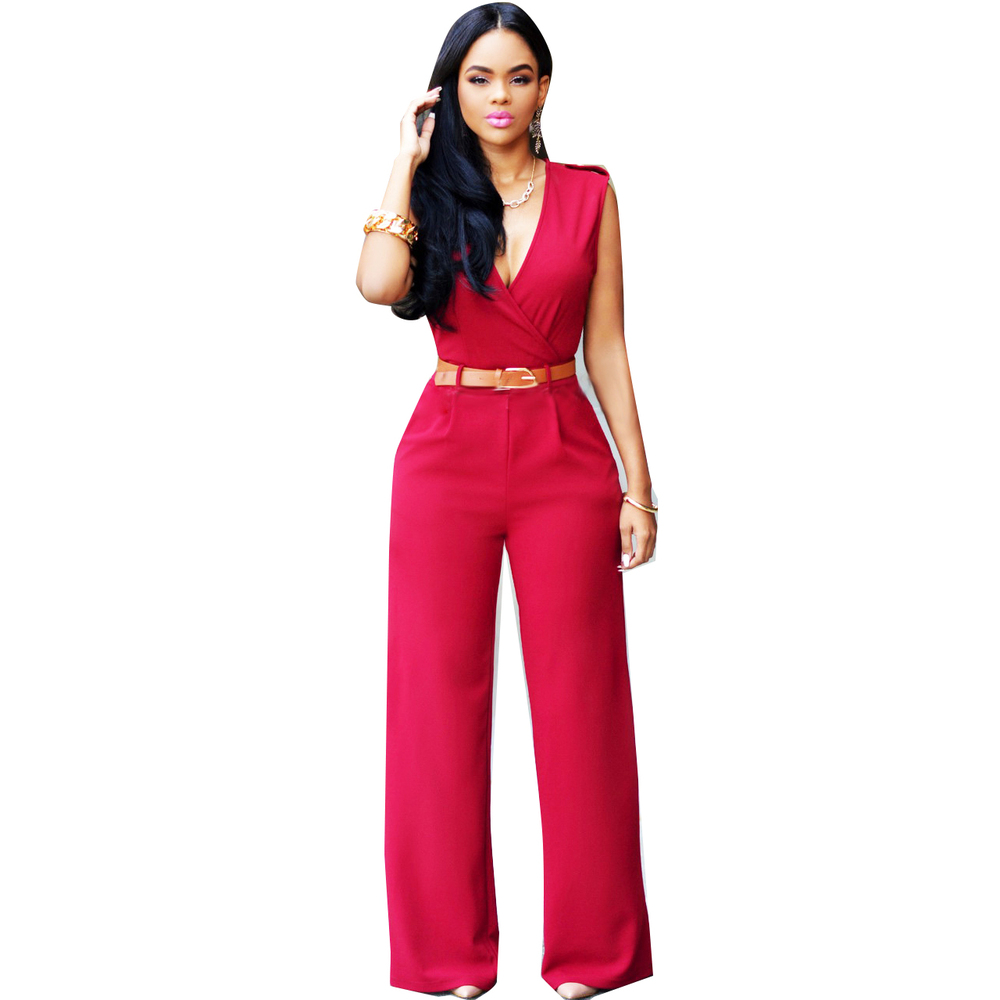 Images of Red Pants Romper - Reikian