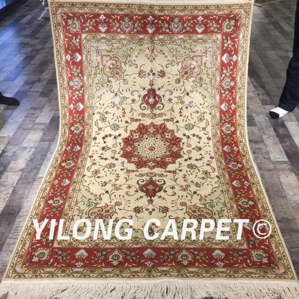 ييلونغ 4'x6 'أحمر اللون handhook غرفة المعيشة الديكور دائم اليدوية الصوف الفارسي الحرير السجاد (WY2108S4x6)