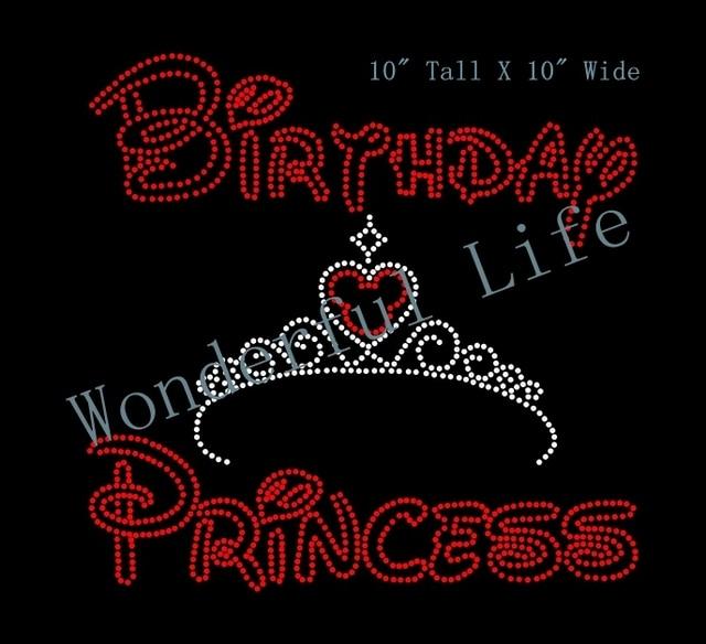 Wonderful life free shipping birthday princess with crown Wedding Iron On  Transfer in rhinestones motif design a09af7d37545
