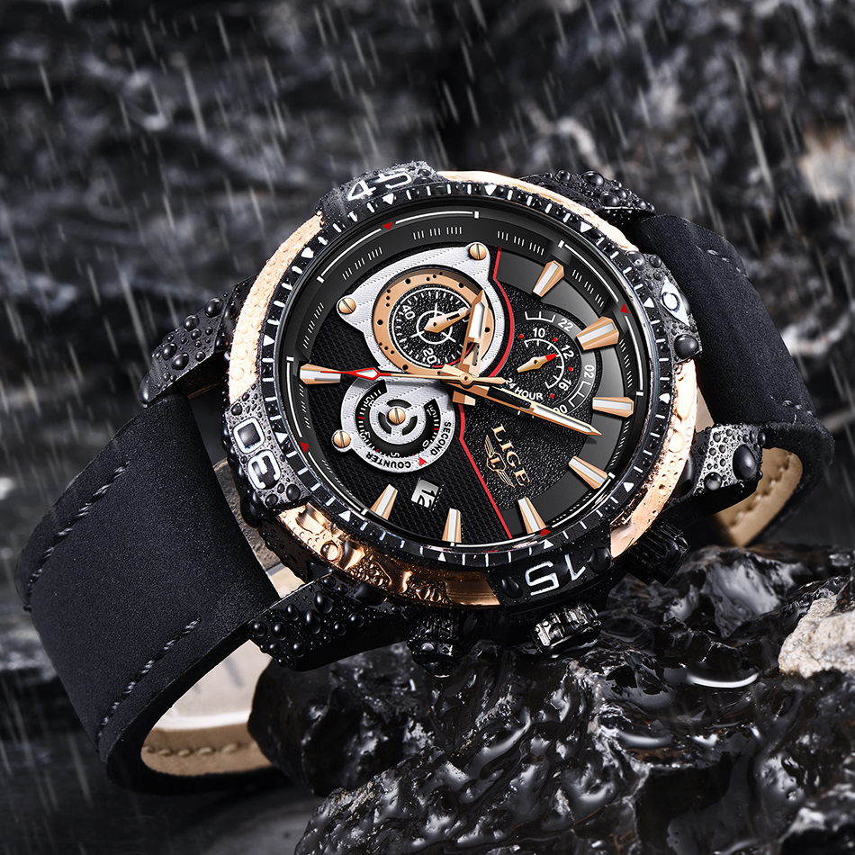 HTB1dK6fXovrK1RjSspcq6zzSXXaX LIGE Mens Watches Top Brand Luxury Casual Leather Quartz Clock Male Sport Waterproof Watch Gold Watch Men Relogio Masculino