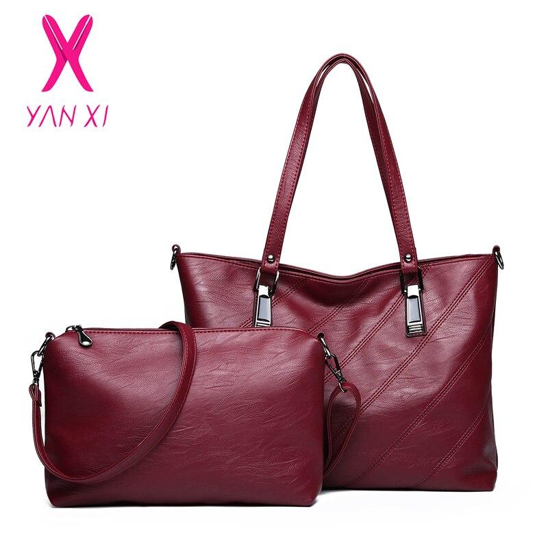 YANXI Brand 2PC/Set Large Capacity Women Bag High Quality Crossbody for Fashion PU Leather Handbag Bags 2018