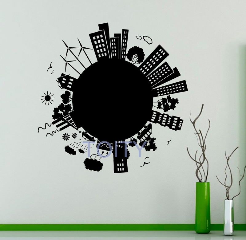 City Wall Vinyl Decal Architecture Wall Sticker Skyscraper Home Interior Wall Graphics Bedroom Removable Murals H 59cm x W 58cm