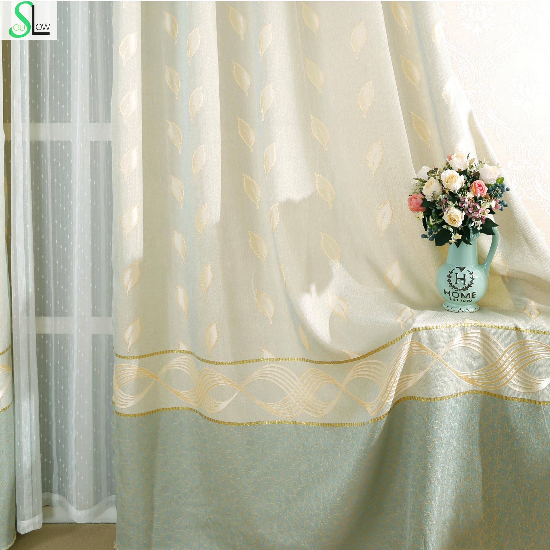 Cafe curtains for bedroom - Slow Soul Light Blue Fresh Jacquard Curtains Linen Curtain Pastoral Leaves Tulle For Living Room Kitchen Cafe Bedroom Custom