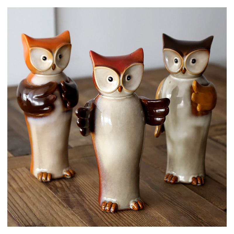 Vintage Owl Ornament Ceramic Craft Animal Lucky Owl Miniature Home  Decoration Accessories Porcelain Owl Home Decor Gifts Crafts In Figurines U0026  Miniatures ...
