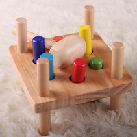 2017 Hammer And Pegs Wooden Baby Toys Jenga Game Hit Miniature Children Kids Assembled Toy Gifts