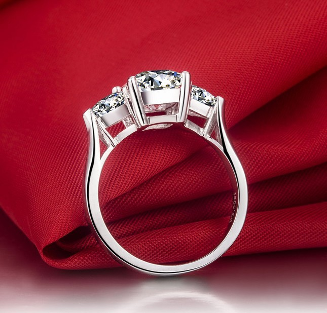 3 carat Cushion cut sona Simulate Gem Engagement rings for women