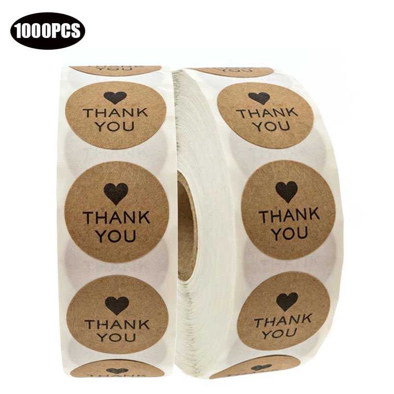 1000PCS Wedding decoration Stickers 1inch Round Kraft thank you for your purchase Stickers Hand Made Gifts Packging Seal Labels in Party DIY Decorations from Home Garden