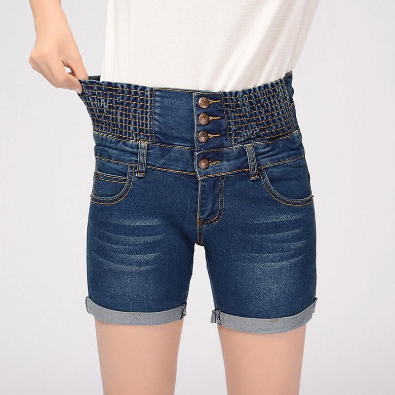 Fashion Women High Waist Denim Jeans Shorts Summer Loose Thin Elastic Waist Short Pants FS99