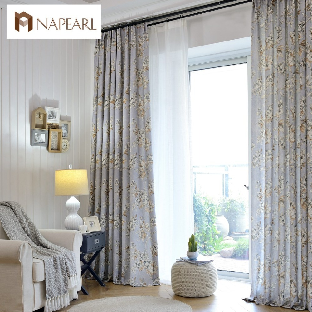 Linen curtains modern printed bedroom curtains American