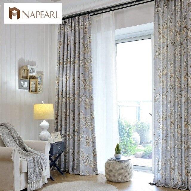 Tende di lino moderna stampato tende camera da letto in stile ...