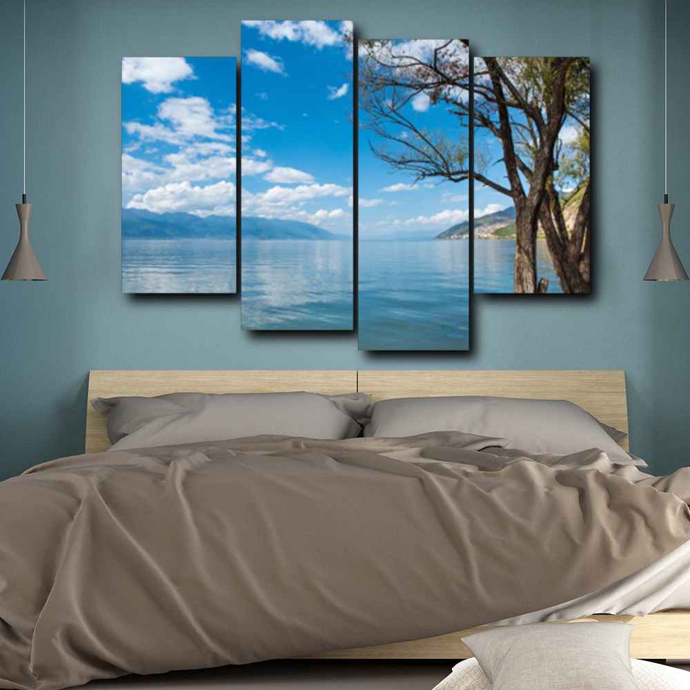 Laeacco 4 Panel Blue Sky Wall Artworkwork Posters and Prints Canvas Calligraphy Painting Nordic Home Living Room Decor in Painting Calligraphy from Home Garden