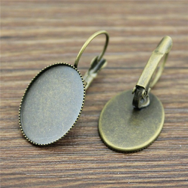 Kamas 3 Colors Fit 10x14mm 13x18mm 18x25mm Oval Glass Cabochon Sawtooth Edge Earring Settings Studs Earring Settings 20pcs//lot Color: Antique Bronze, Size: 10x14mm