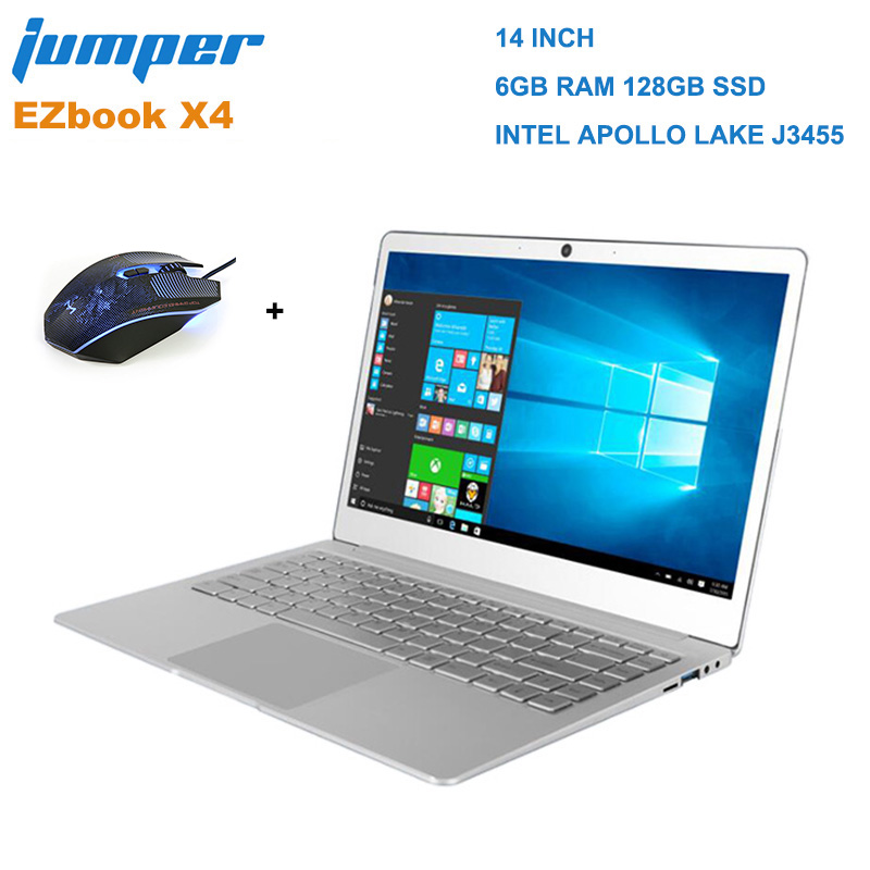 Jumper EZbook X4 Laptop Notebook 14.0 inch Win 10 Intel Apollo Lake J3455 Quad Core 1.5GHz 6GB RAM 128GB SSD Camera Dual Band