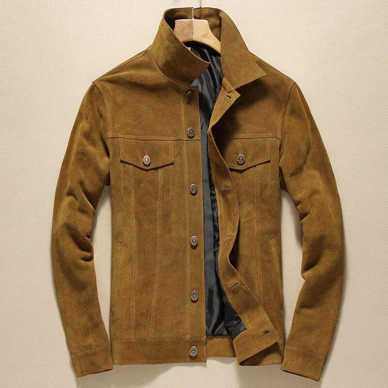 Chaqueta de cuero genuino de la marca de moda de la chaqueta de cuero Real de la piel de vaca corta informal del cuello del soporte de los hombres
