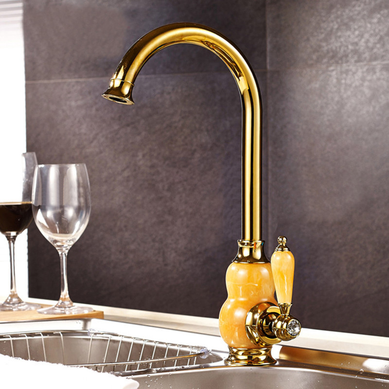 Kitchen Faucets  Jade and Golden Kitchen Faucets Hot Cold Single Handle Deck Mounted Sink Mixer Tap European Water Tap TorneirasKitchen Faucets  Jade and Golden Kitchen Faucets Hot Cold Single Handle Deck Mounted Sink Mixer Tap European Water Tap Torneiras
