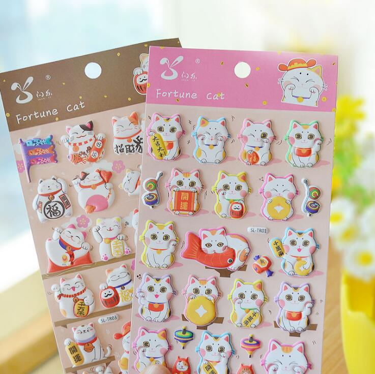 SL-TR Lovely Fortune Cat 3D Decorative Stickers Adhesive Stickers DIY Decoration Diary Stickers lovely panda animals stickers adhesive stickers diy decoration stickers