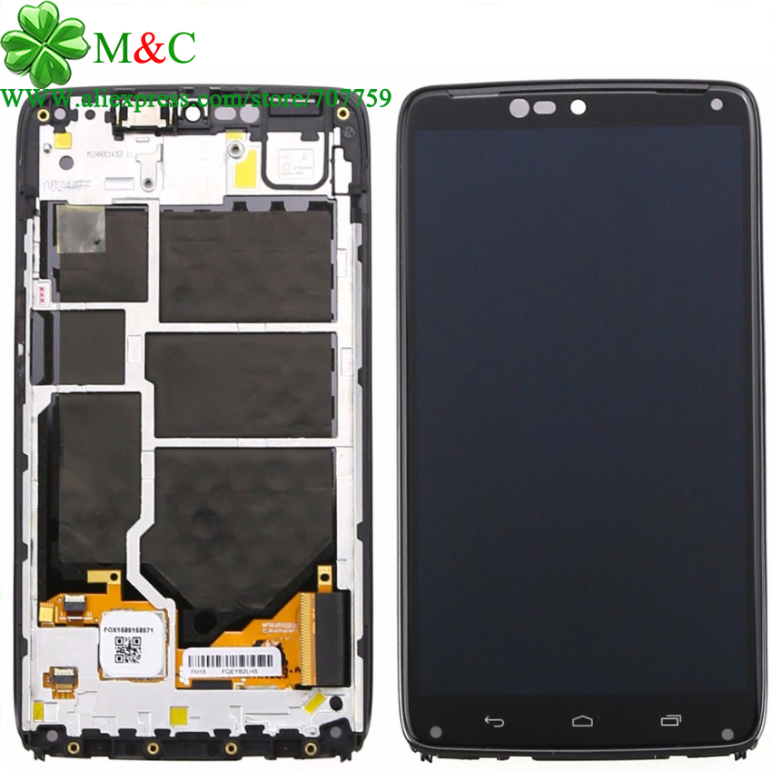 KUJOOY XT1254 LCD Panel For Motorola Moto Droid Turbo XT1254 LCD Display Touch Screen Digitizer With Frame Assembly Free Track lcd screen display touch panel digitizer with frame for htc one m9 black or silver or gold free shipping