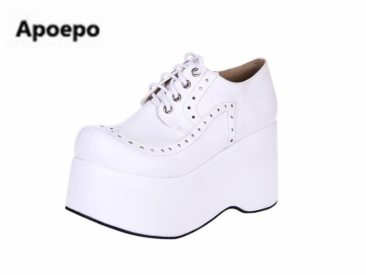 sales brand 2018 red white Platform shoes black white 10 cm lace up Thick bottom high heels shoes girls sweet Student shoes white sweet delicate lace panties