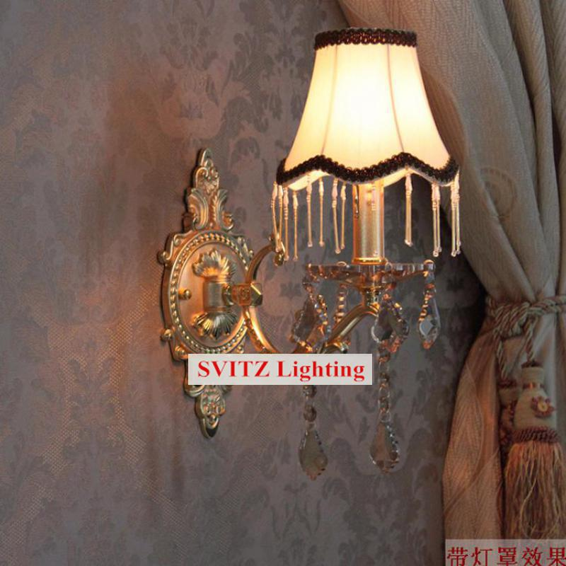 Free shipping Bedroom modern wall Sconce crystal Wall lamps fabric lampshade Europe fluorescent wall lights for bedside hallway