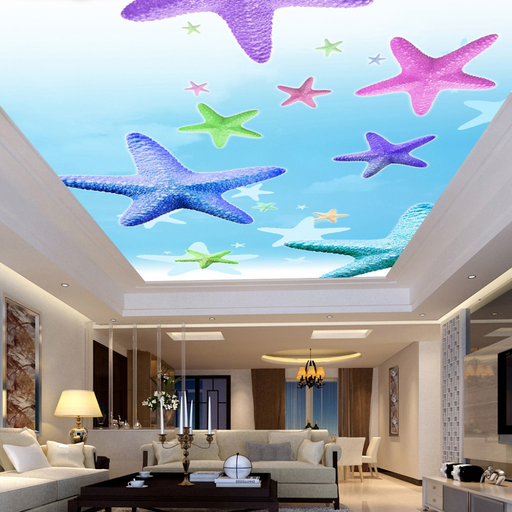Custom photo wallpaper 3d non woven fabric starfish living for Fabrics for children s rooms