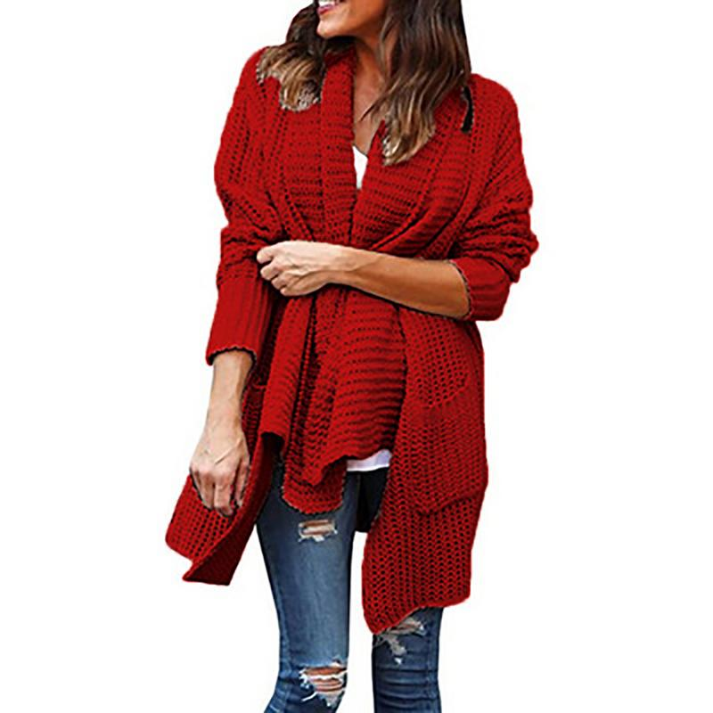 2018 NEW Winter Warm Knitted Women Sweater Loose Large Size Double Pocket Irregular Lapel Sweater Cardigan Comfortable S-3XL