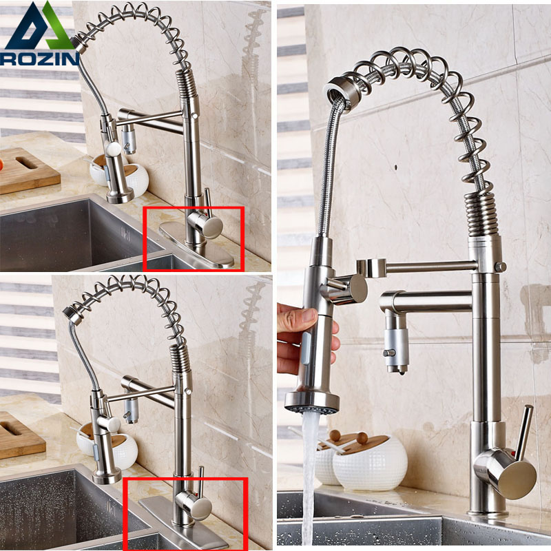 Brushed Nickel Pull Down Spring Kitchen water Faucet Single Handle Two Swivel Spout Mixer Taps luxury brushed nickel pull down swivel spout kitchen mixer tap single lever spring kitchen sink washing taps