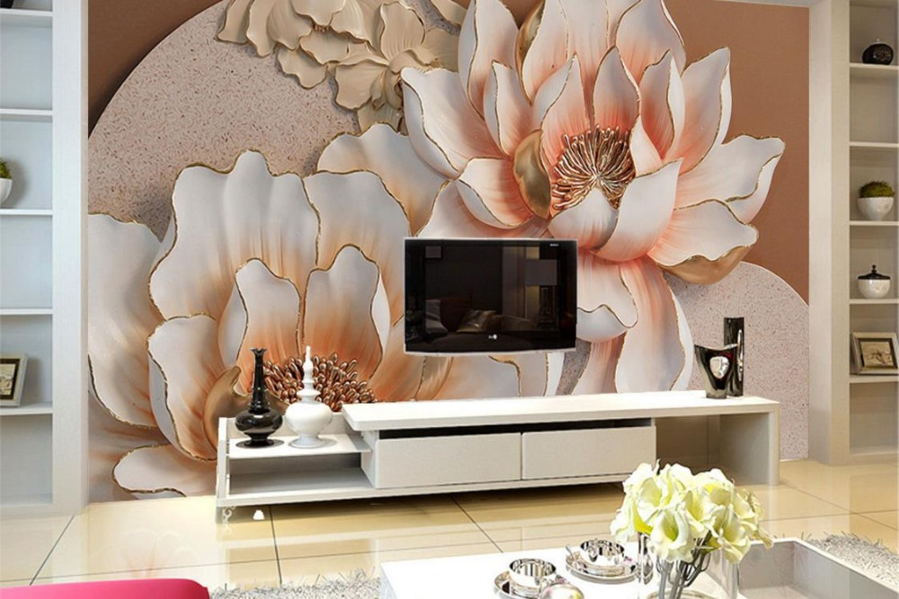 Relief Wall 3d Photo Wallpaper Customize 3D flowers Wallpaper Living Room Sofa TV Background Wall papers Home Decor 3d model stl relief stl format 3d model relief for cnc in stl file format clock 32