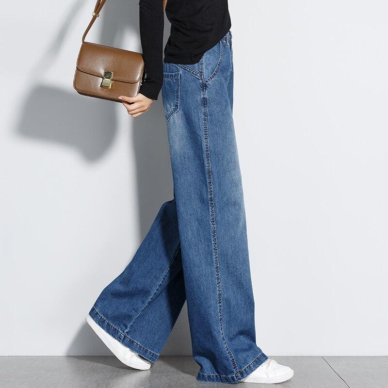 2019 Spring fashion Women High Waist Wide Leg Jeans Casual L