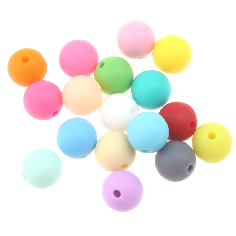 100pcs 10mm Round Silicone Teether Loose Beads  For Jewelry Making Bpa Free Diy Baby Pacifier To Soothe The Chain