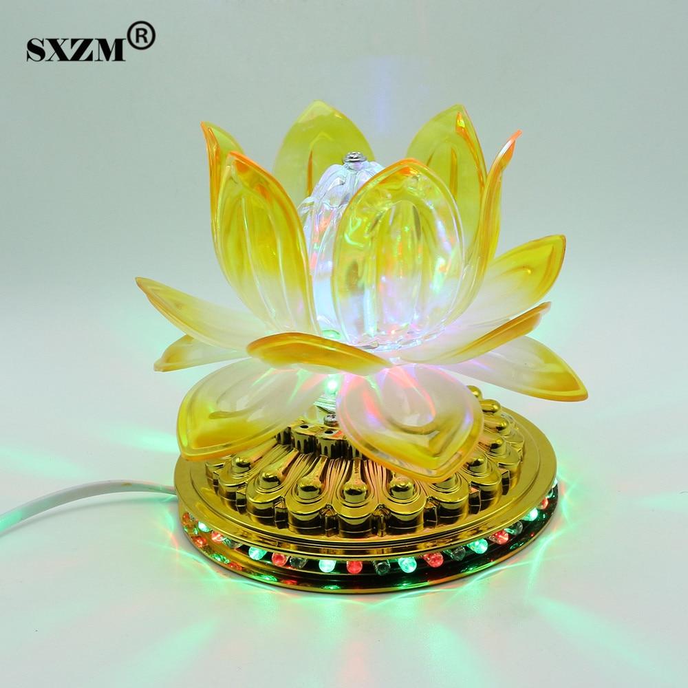 SXZM 3W RGB LED Stage Light Auto rotating Crystal Lotus Projector lamp AC85-265V EU plug for KTV Bar DJ Club Disco Dancing