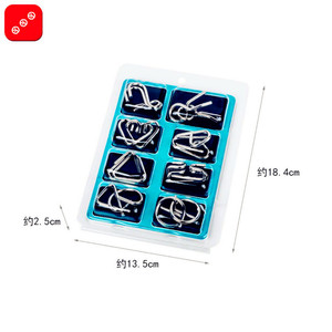 Image 2 - 8pcs/Set Metal Wire Puzzle IQ Mind Brain Teaser Puzzles Game Adults Children Kids Montessori Early Educational Toys A Nice Gift.