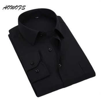 AOWOFS Men Shirt Long Sleeve Big Size Formal Men Shirts Office Clothing 6XL 7XL 8XL Dress Shirt Black camisa social masculina - DISCOUNT ITEM  49% OFF All Category