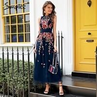 Simplee Elegant mesh overlay party dress women Stretch sleeveless vest long dress summer 2018 Embroidery black dress robe femme