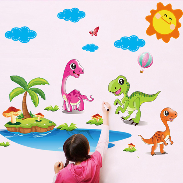Cartoon dinosaur park wall stickers kindergarten classroom boy girl kids bedroom living room decorative wallpaper poster