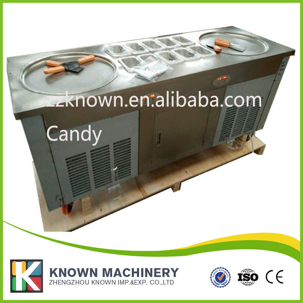 usa canada free shipping by sea 110V double square pan fried ice cream machine with R410a fry ice cream roll machine free  family car with a refrigerator for ice creams bottle drinks free shipping by sea