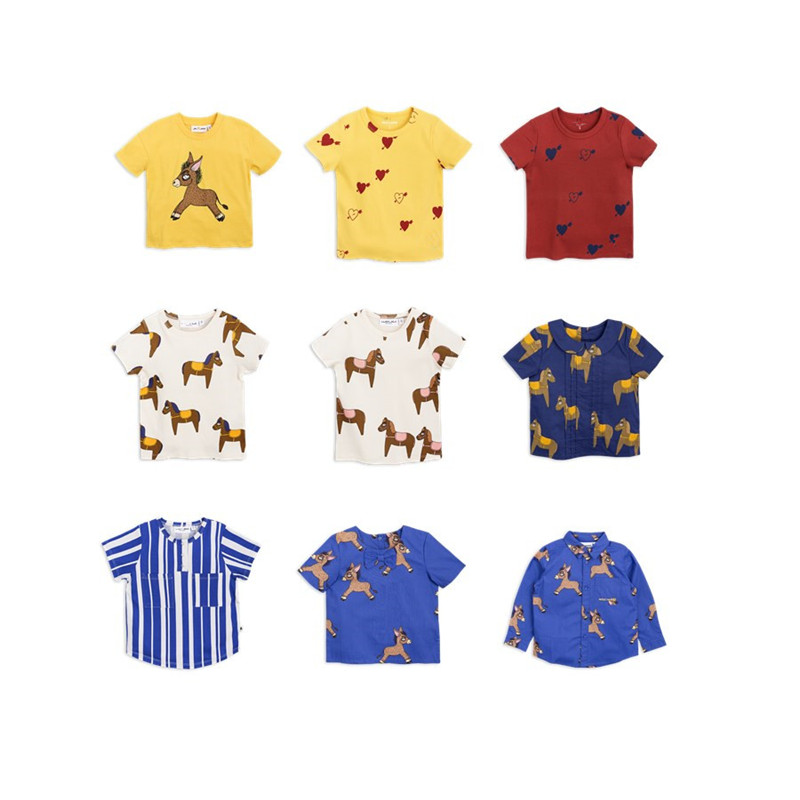 BOBOZONE 2018 NEW horse Donkey Woven print tee shorts t-shirt kids tops lace trim tee with shorts
