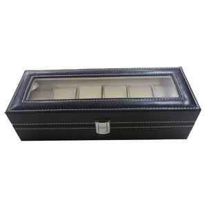 Image 3 - Uhr fall Leder uhr box Schmuck box Geschenk für männer (6 fächer Schwarz)